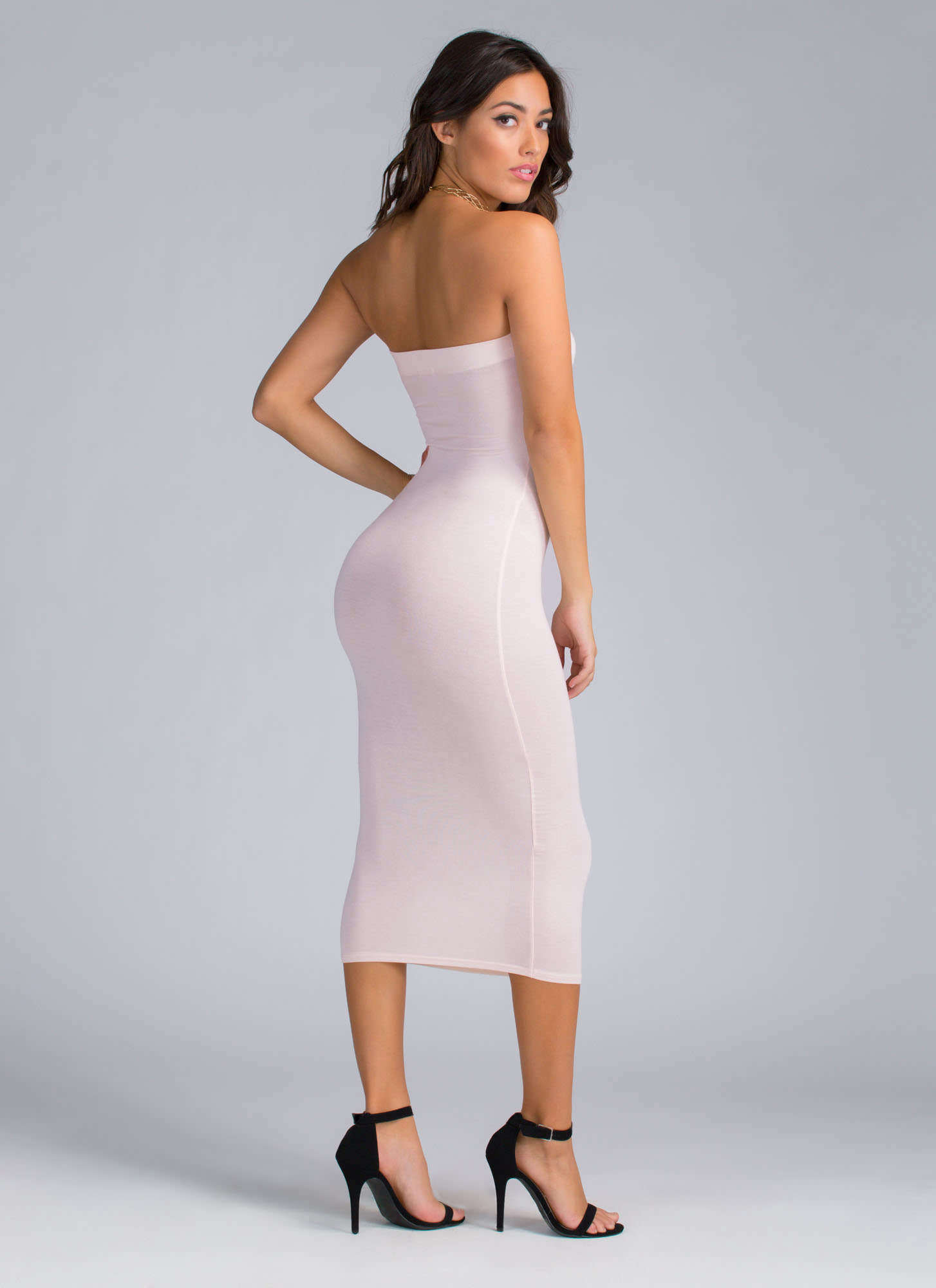 Keep It Simple Tube Midi Dress BLUSH