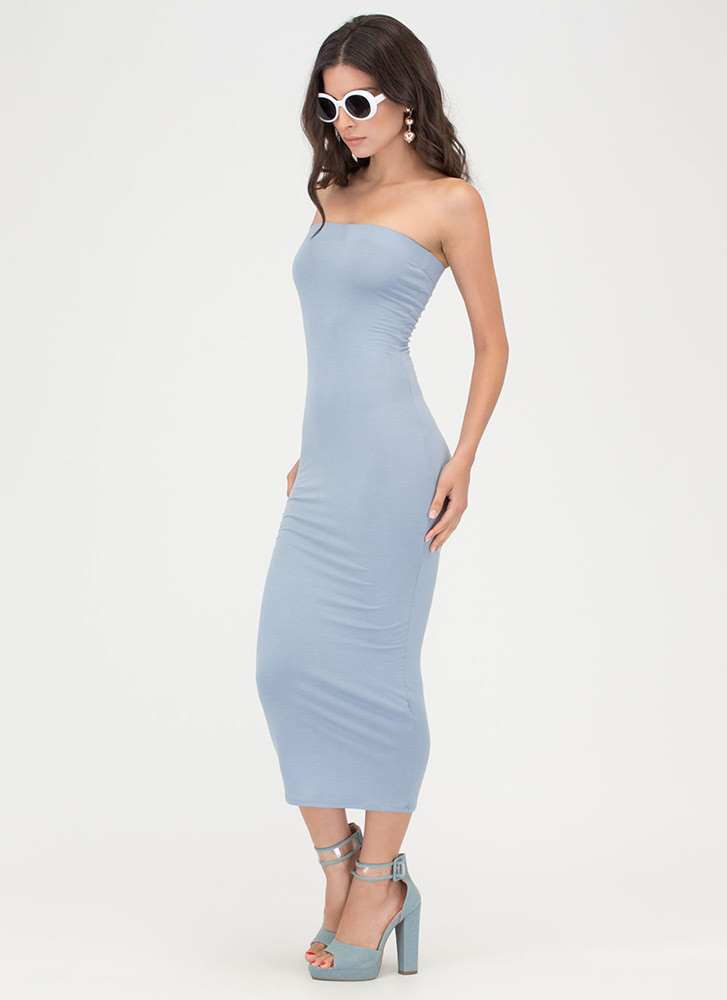 Keep It Simple Tube Midi Dress DUSTYBLUE