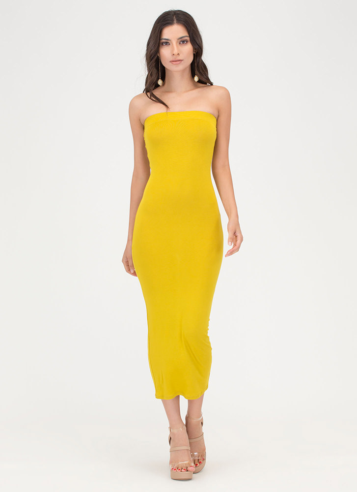 Keep It Simple Tube Midi Dress LEMONGRASS
