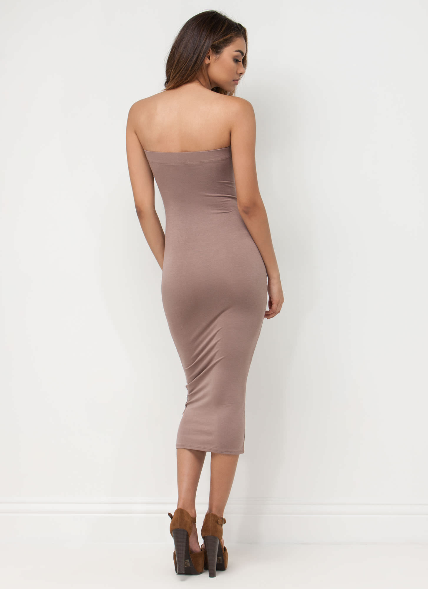 Keep It Simple Tube Midi Dress MOCHA