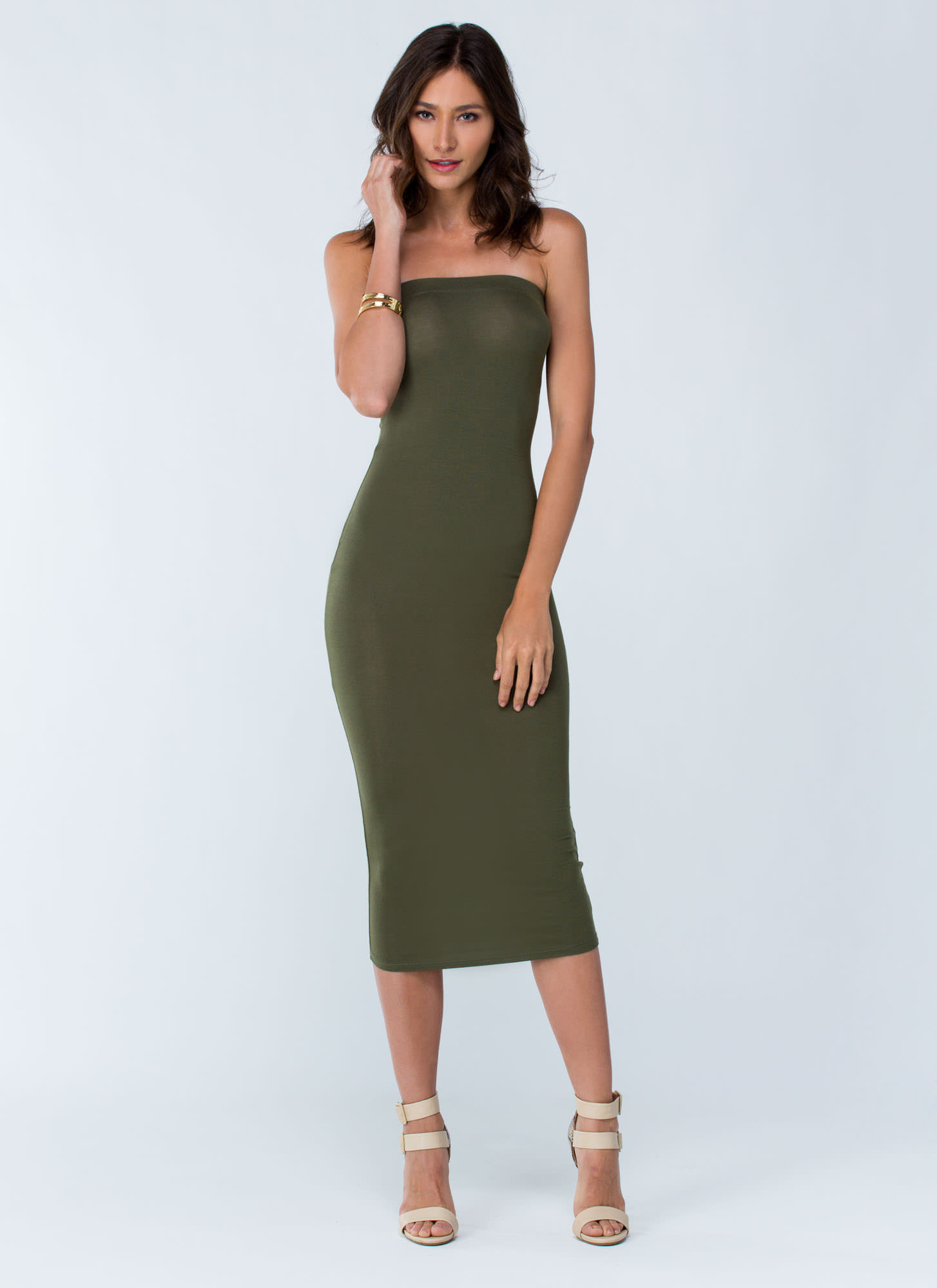 Keep It Simple Tube Midi Dress OLIVE