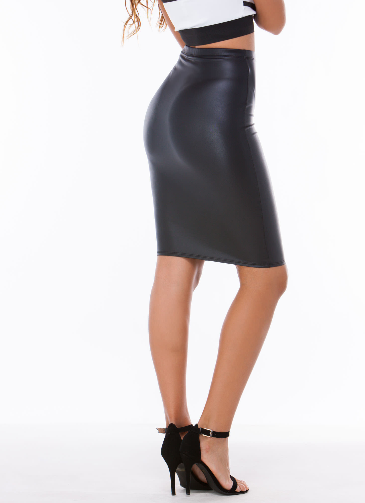 Pencil It In Faux Leather Skirt BLACK