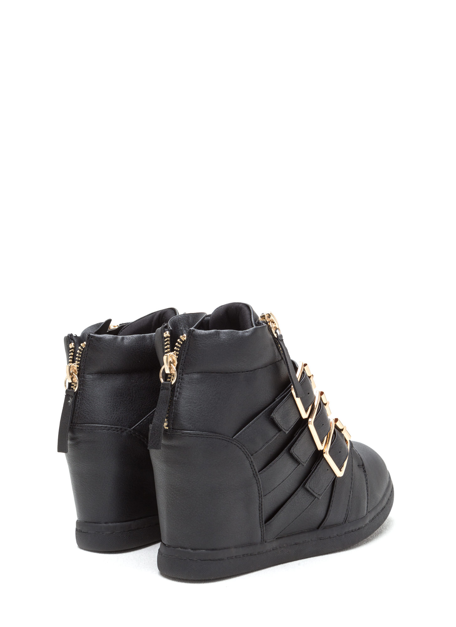 Bold 'N Buckled Sneaker Wedges BLACK