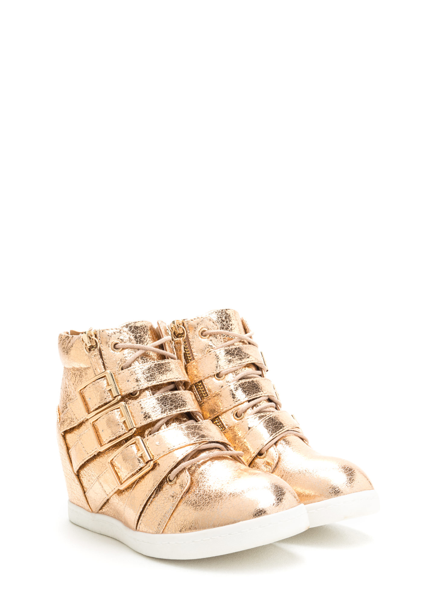 Bold 'N Buckled Sneaker Wedges ROSEGOLD