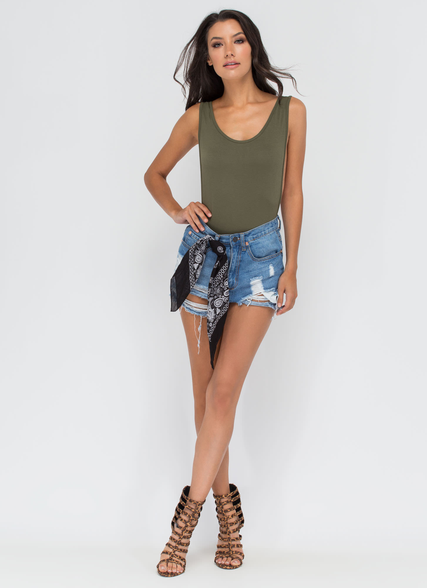 Wanted Muscle Bodysuit OLIVE