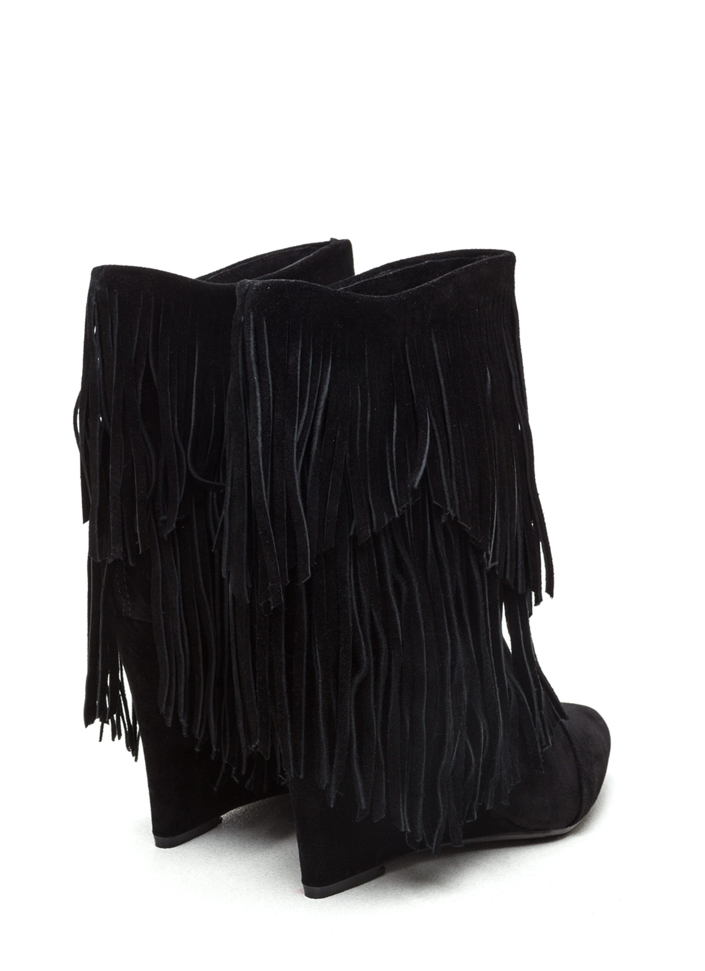 Fringe On Fringe Faux Suede Boots BLACK