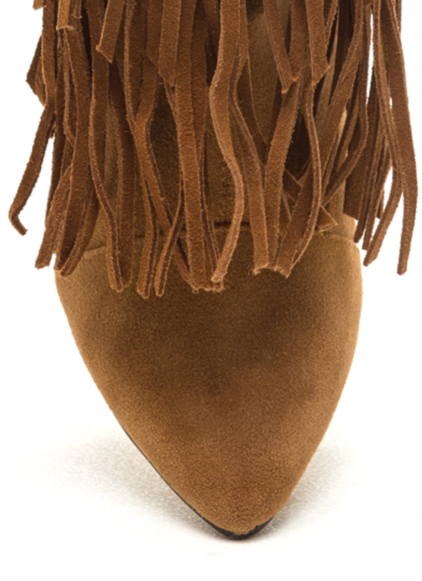 Fringe On Fringe Faux Suede Boots TAN