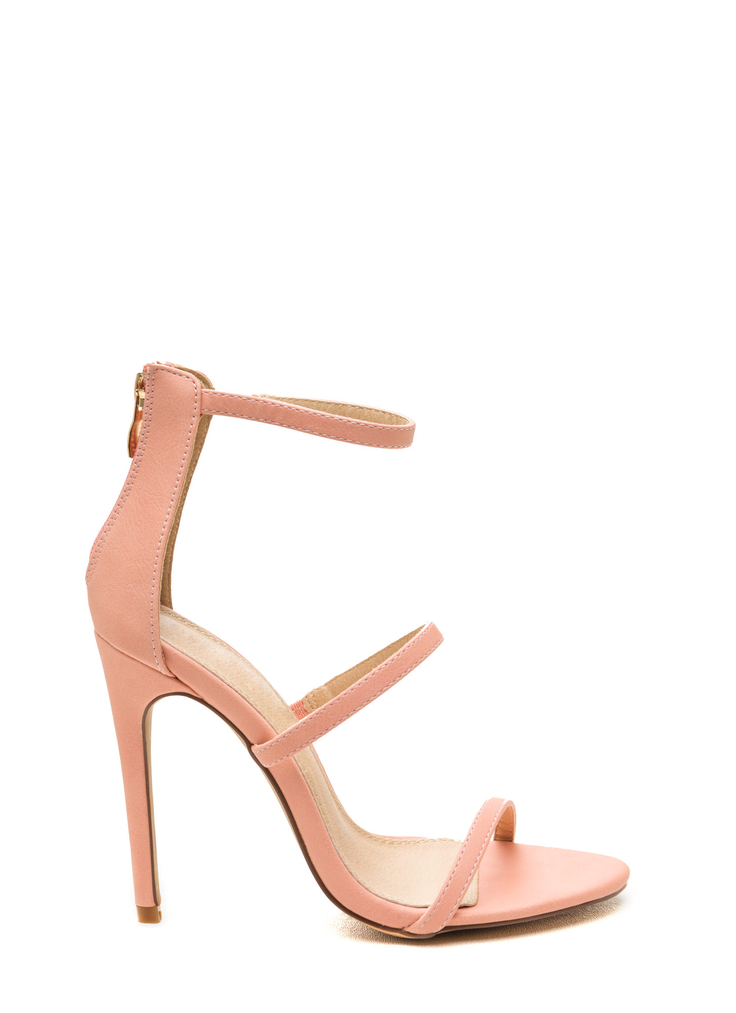 Strappy Life Single-Sole Heels BLUSH