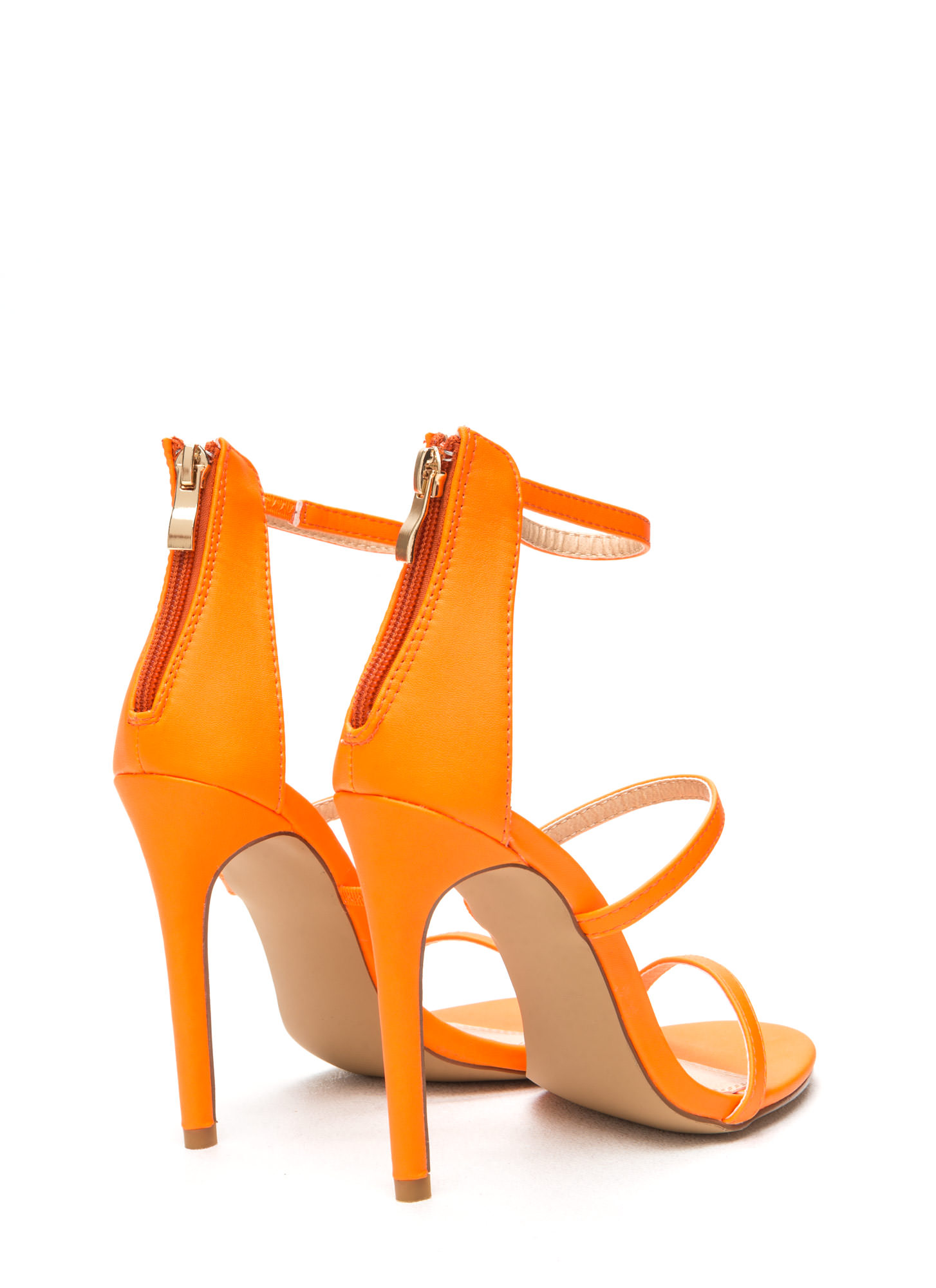 Strappy Life Single-Sole Heels NEONORANGE