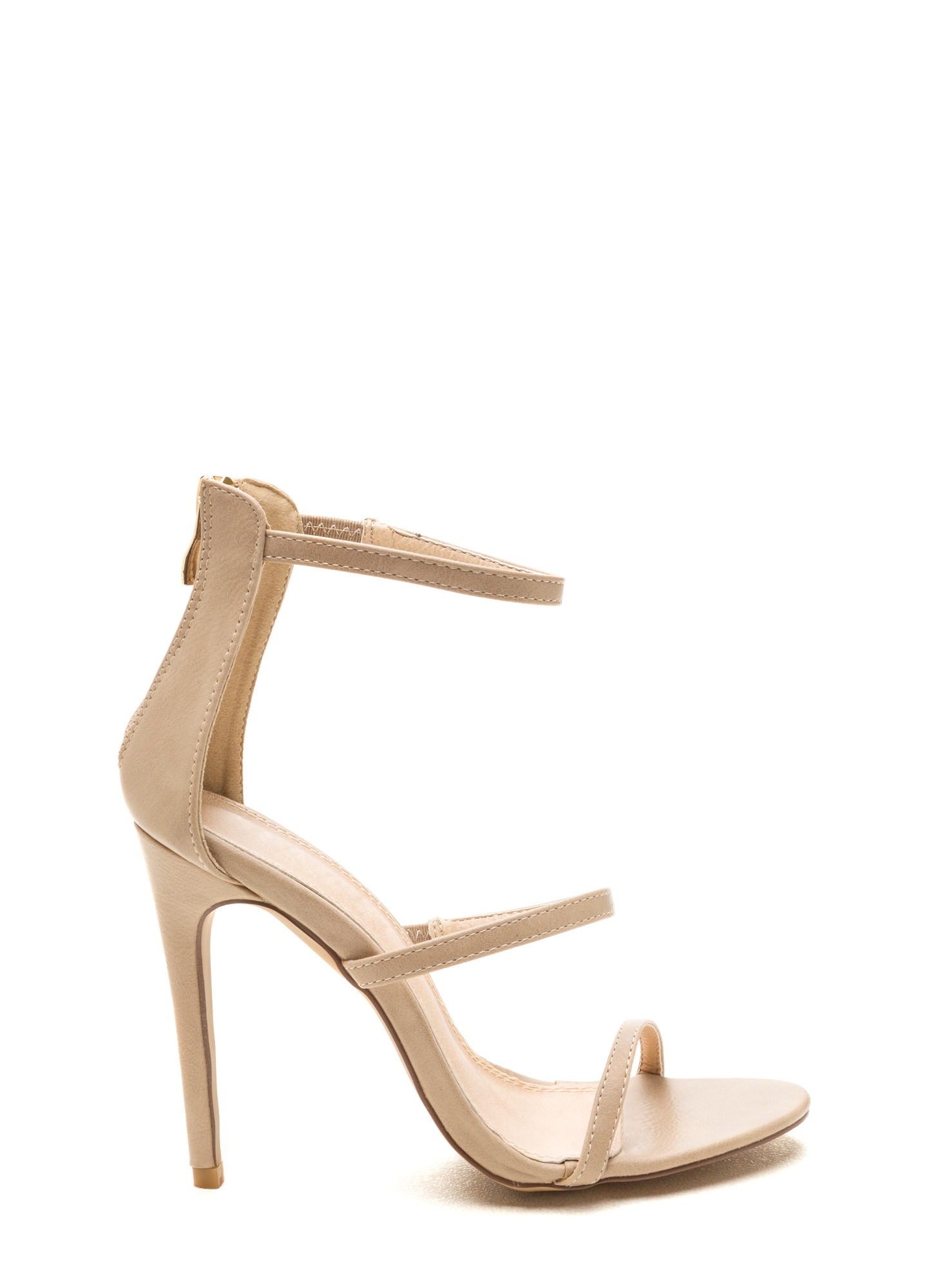 Strappy Life Single-Sole Heels NUDE