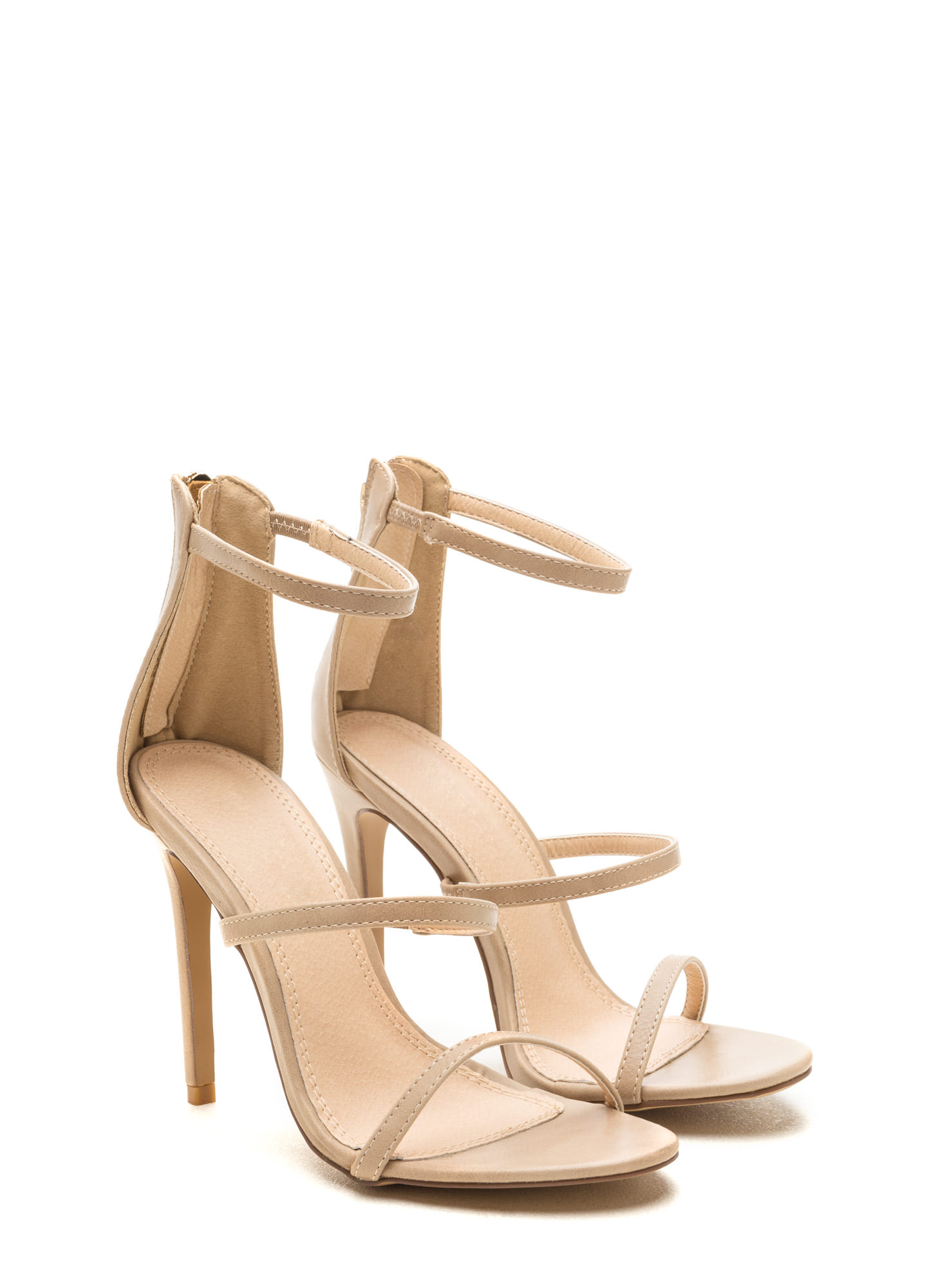 Strappy Life Single-Sole Heels COBALT TAN BLACK BLUSH NEONCORAL ...