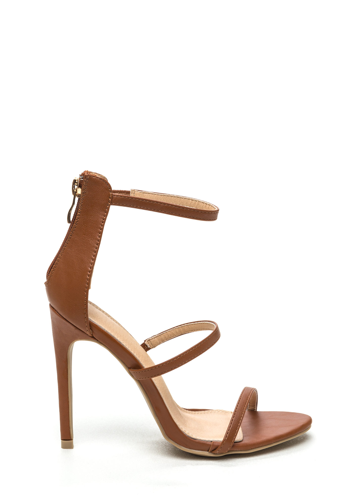 Strappy Life Single-Sole Heels COBALT TAN NEONCORAL BLACK BLUSH ...