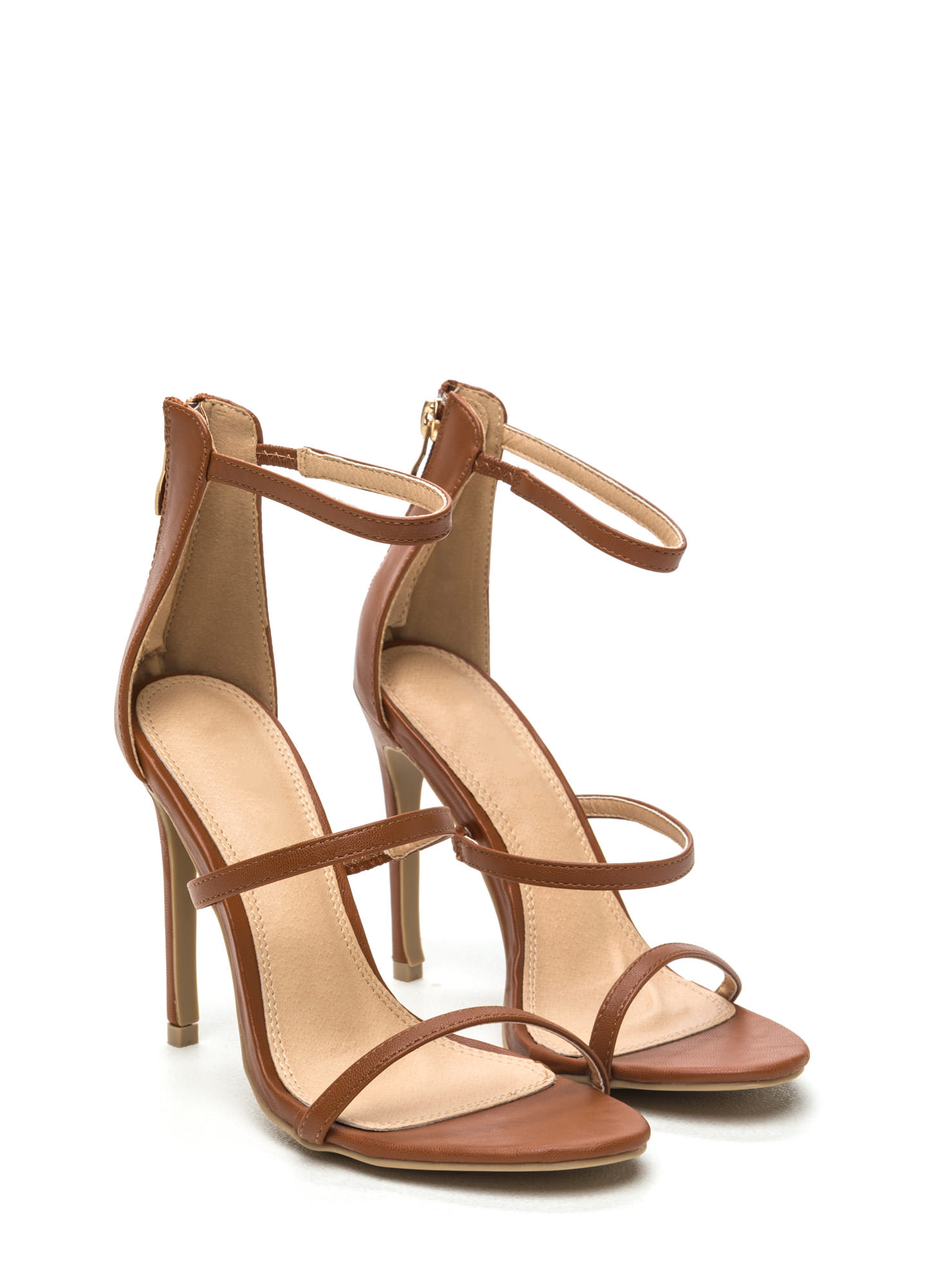 Strappy Life Single-Sole Heels TAN