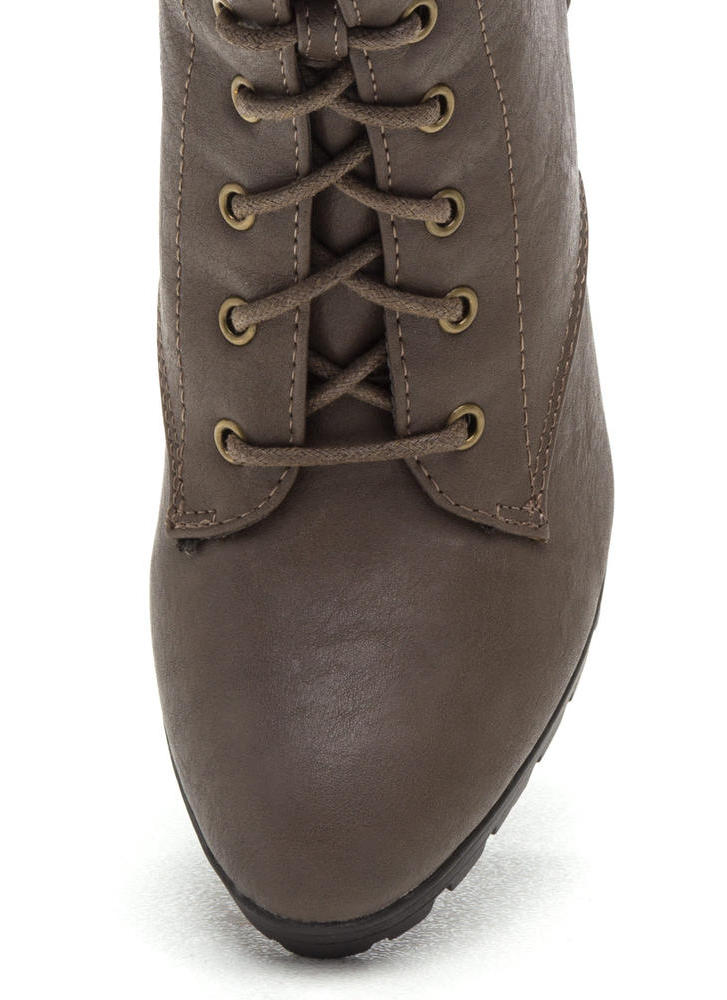 Cool Combat Lace-Up Lug Booties TAUPE (Final Sale)