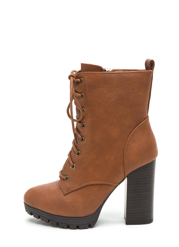 Cool Combat Lace-Up Lug Booties WHISKY