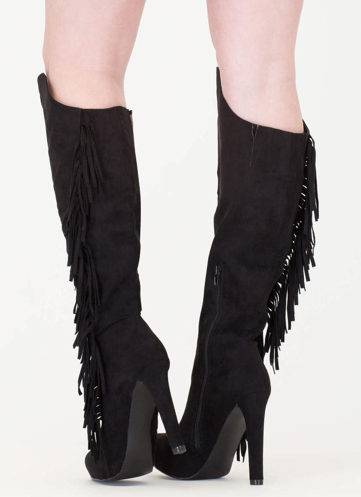 Long Live Fringe Over-The-Knee Boots BLACK