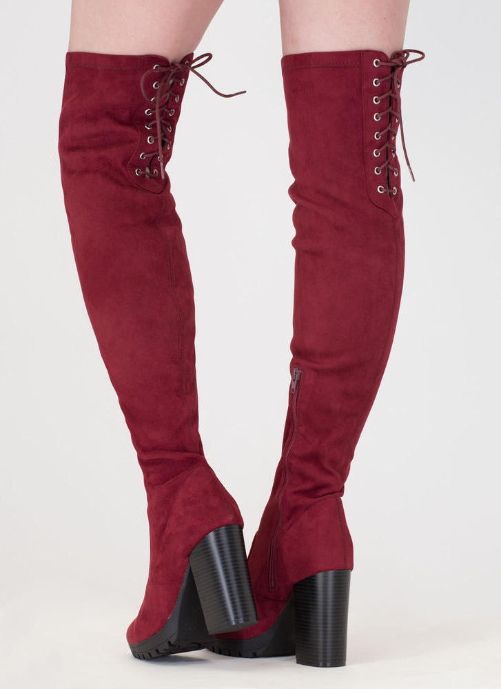 Laced Into Action Over-The-Knee Boots BURGUNDY