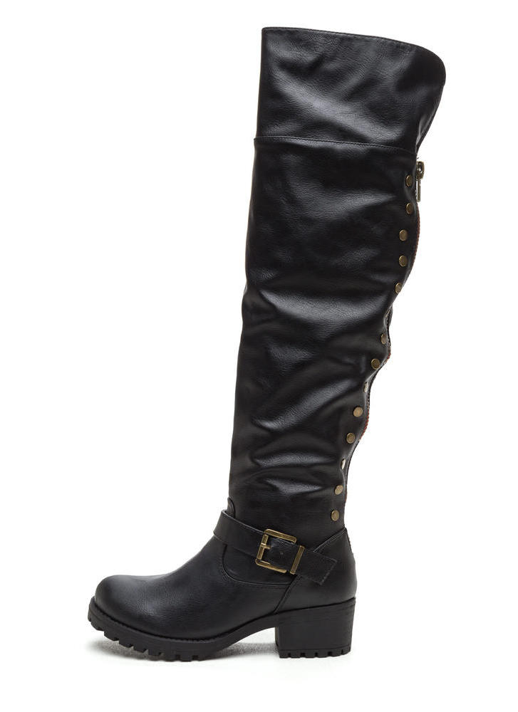 Serious Studs Over-The-Knee Lug Boots BLACK