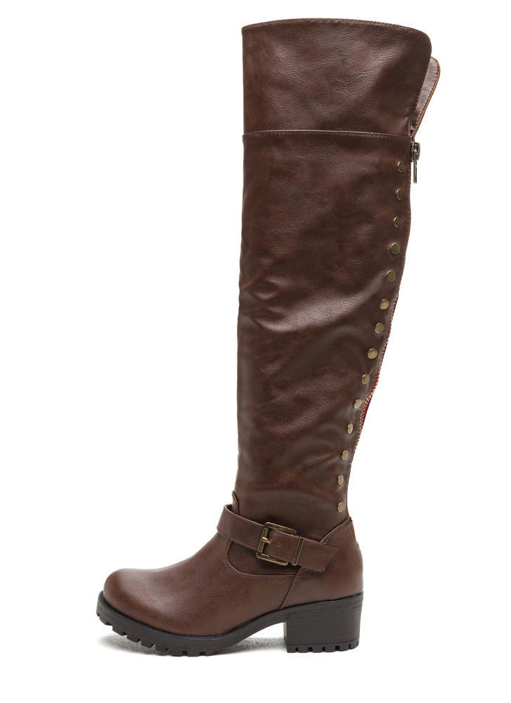 Serious Studs Over-The-Knee Lug Boots BROWN