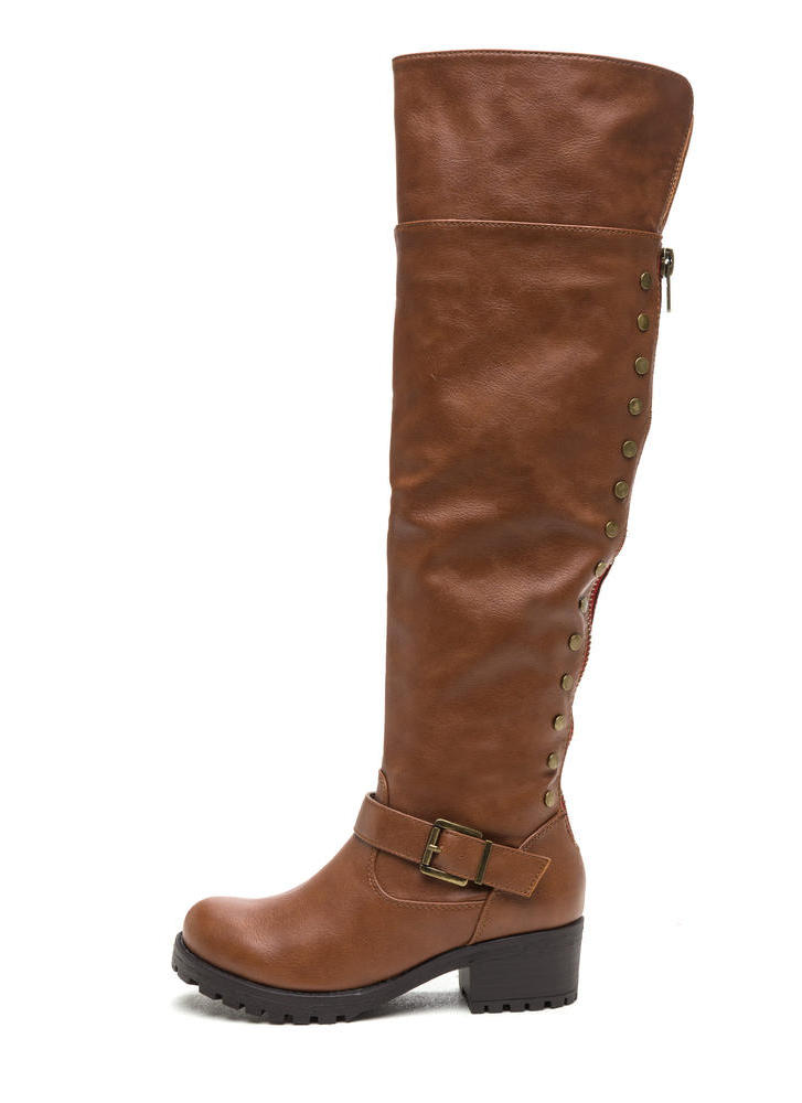 Serious Studs Over-The-Knee Lug Boots