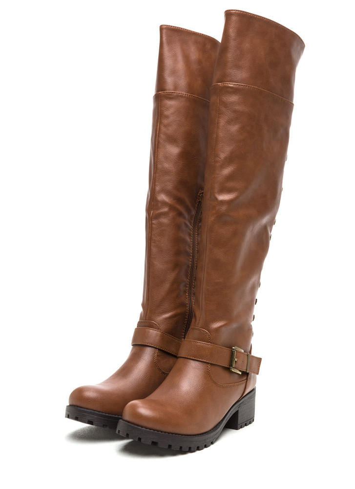 Serious Studs Over-The-Knee Lug Boots CHESTNUT