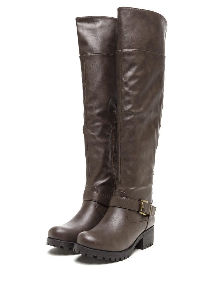 Serious Studs Over-The-Knee Lug Boots TAUPE