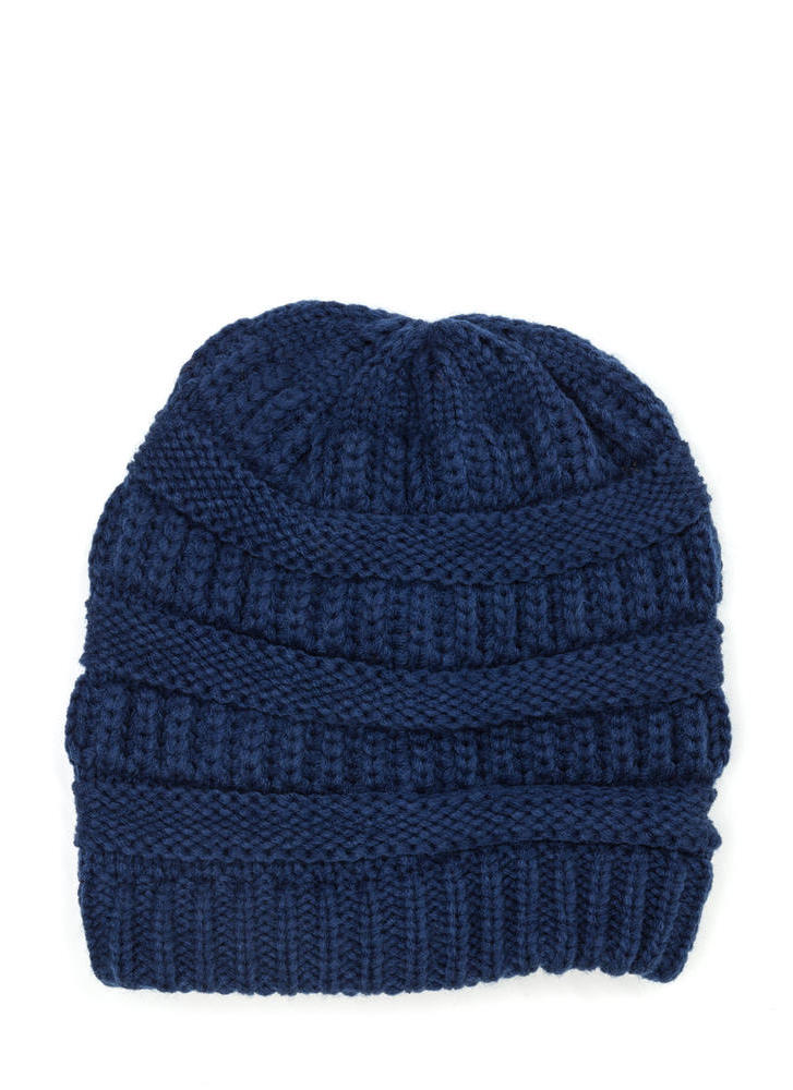 Best Hair Day Cable Knit Beanie NAVY (Final Sale)