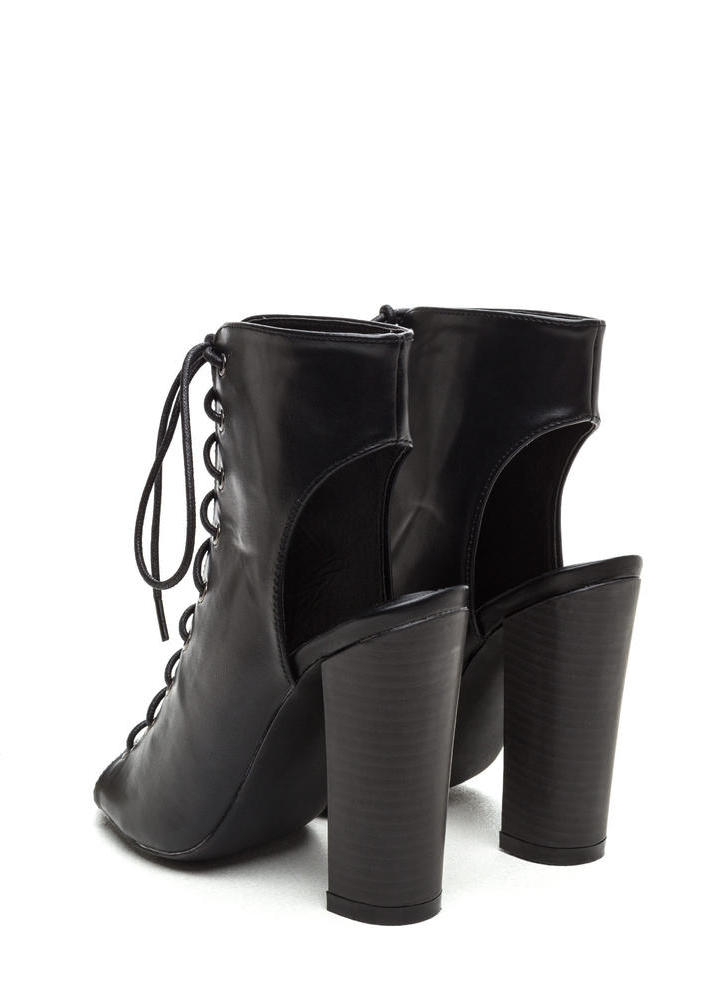 Back It Up Laced Cut-Out Booties BLACK
