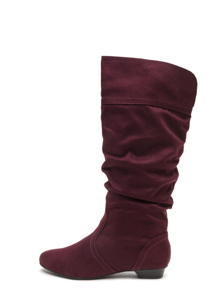 Ditch Day Faux Suede Boots VINO (Final Sale)