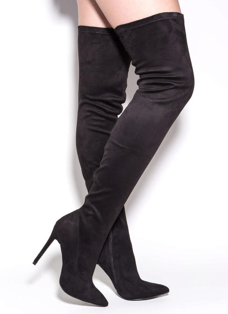 Long Story Chic Thigh-High Boots OLIVE MAUVE MAROON TAUPE BLACK ...