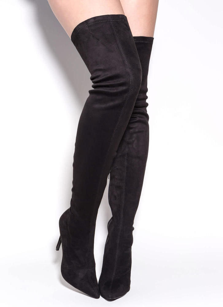 Long Story Chic Thigh-High Boots BLACK