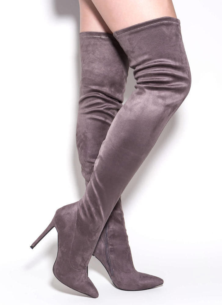 Long Story Chic Thigh-High Boots MAUVE MAROON OLIVE BLACK TAUPE ...