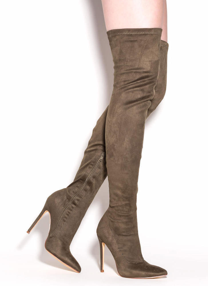 Long Story Chic Thigh-High Boots OLIVE MAROON MAUVE TAUPE BLACK ...