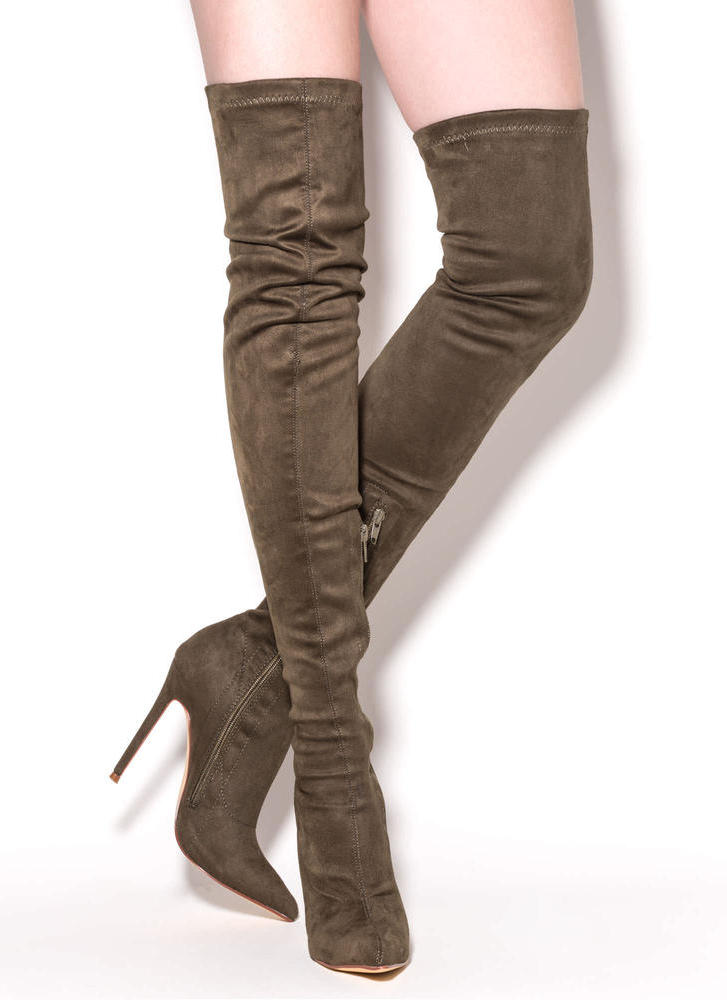 Long Story Chic Thigh-High Boots OLIVE