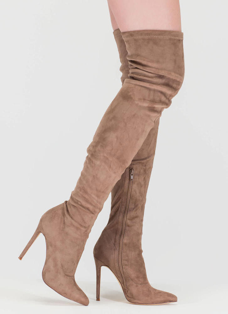 Long Story Chic Thigh-High Boots TAUPE