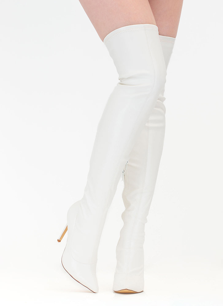 Long Story Chic Thigh-High Boots WHITE