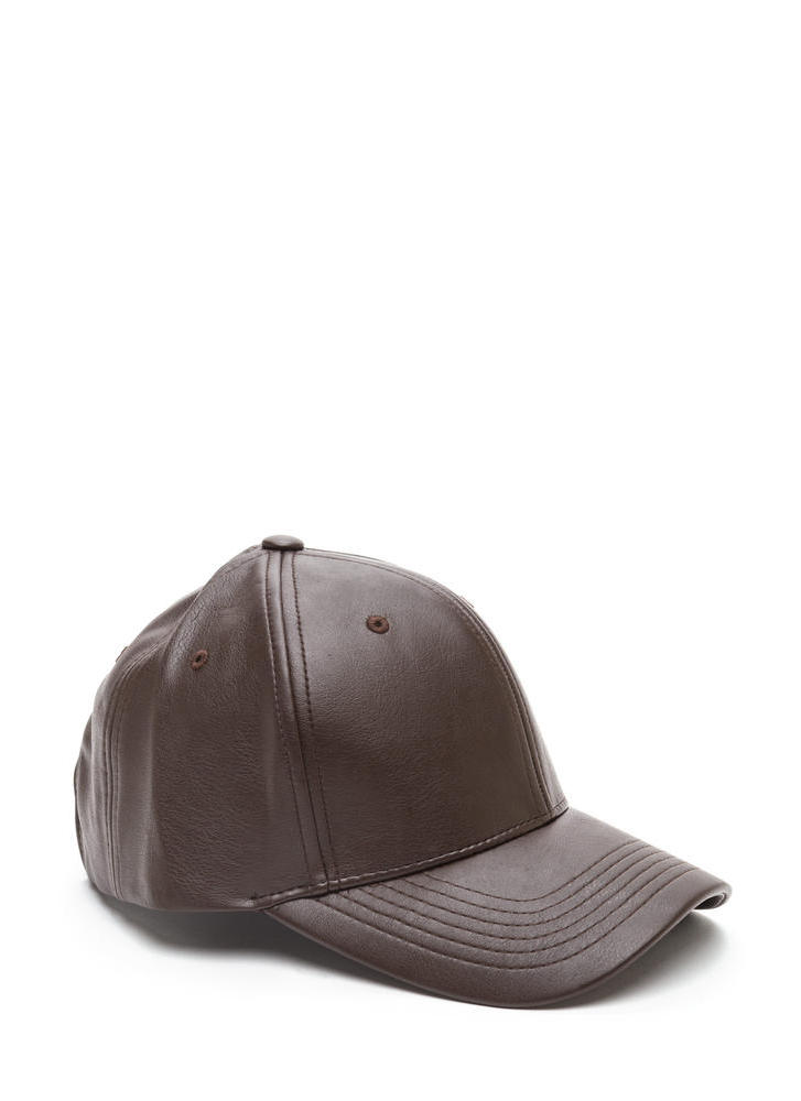 Even Better On Faux Leather Cap BROWN