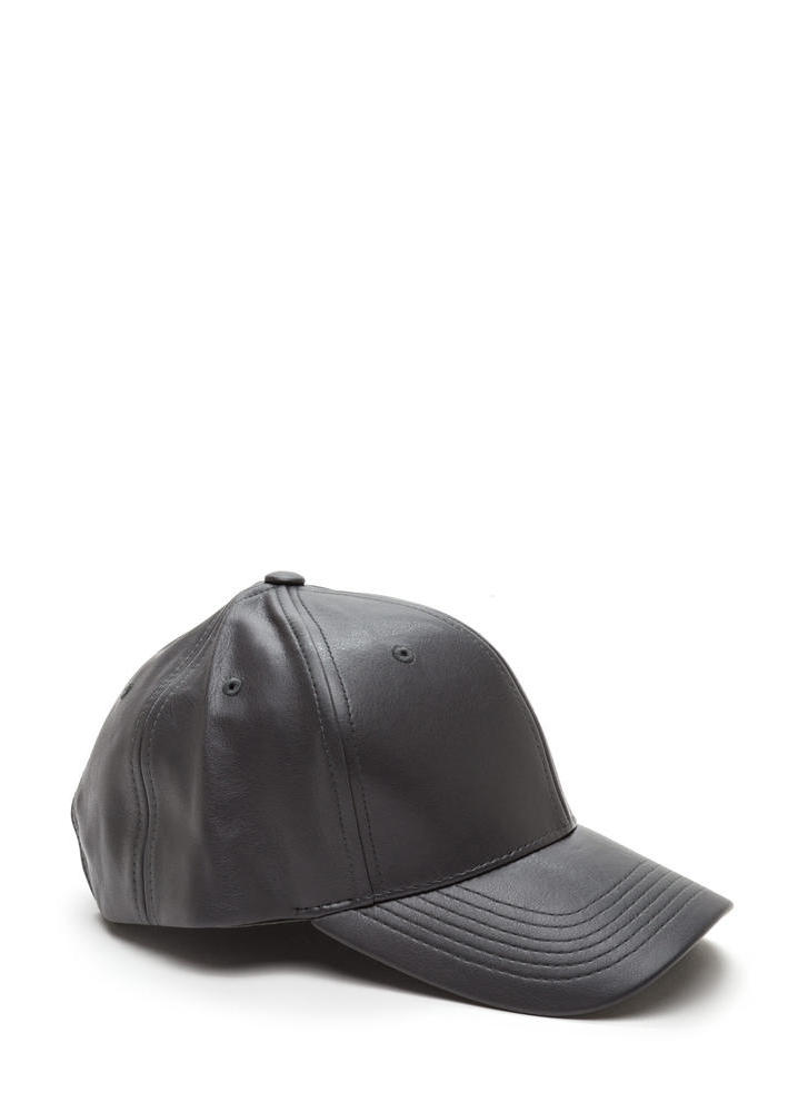Even Better On Faux Leather Cap GREY