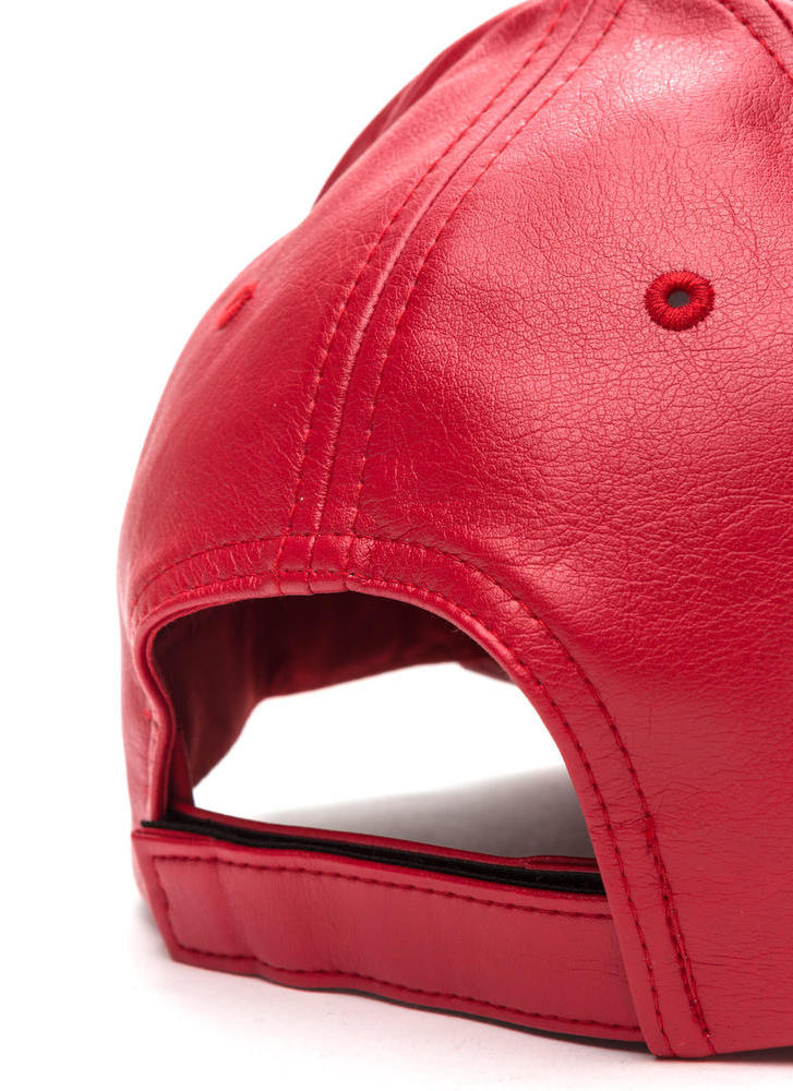 Even Better On Faux Leather Cap RED