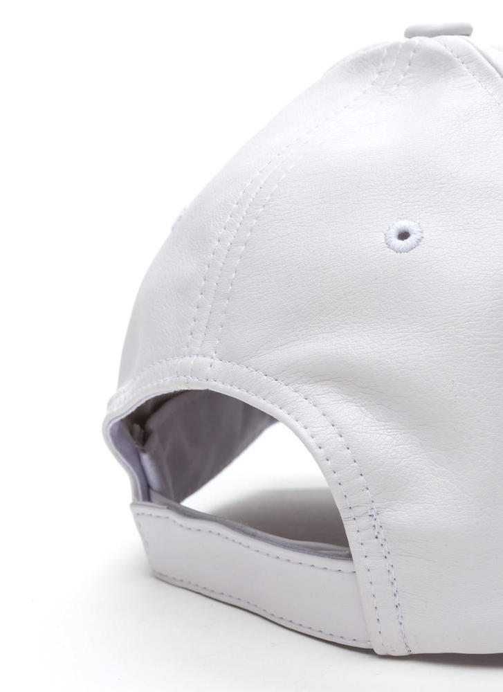 Even Better On Faux Leather Cap WHITE