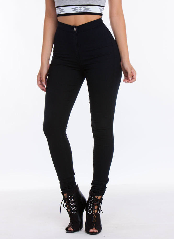 Poured Into My High-Waisted Jeggings BLACK BURGUNDY - GoJane.com