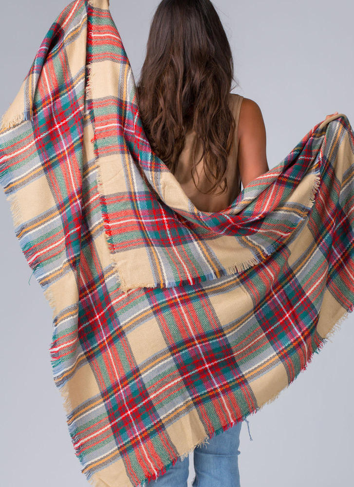 Plaid In Love Square Scarf BEIGEMULTI (Final Sale)