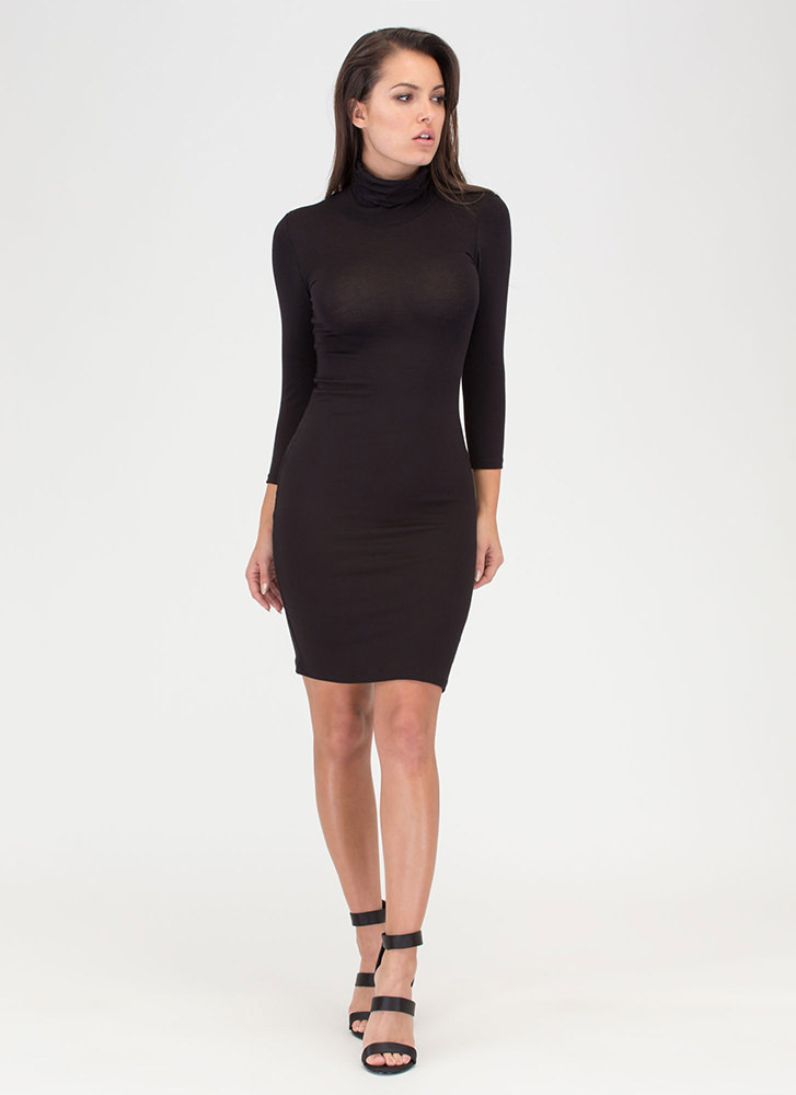 Wins The Race Turtleneck Midi Dress