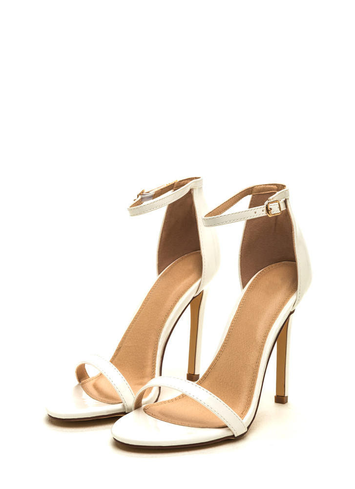 Skinny Feels Strappy Faux Patent Heels WHITE