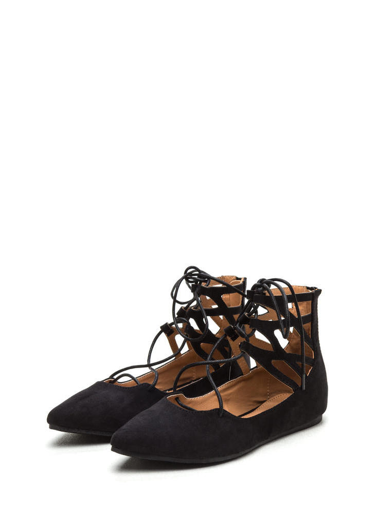 Point It Out Laced Faux Suede Flats BLACK