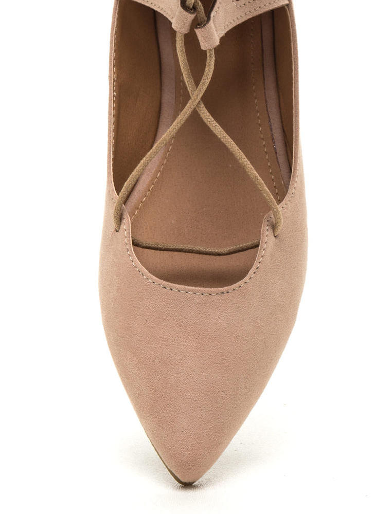 Point It Out Laced Faux Suede Flats NUDE