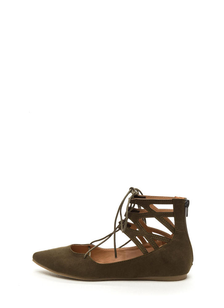 Point It Out Laced Faux Suede Flats OLIVE