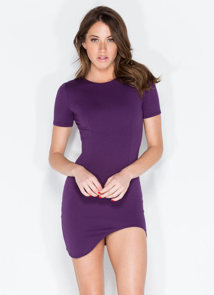 Thigh Hi And Hello Curved Hem Dress