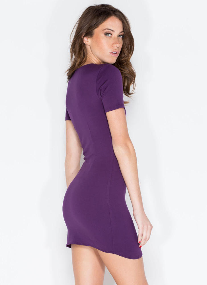 Thigh Hi And Hello Curved Hem Dress PURPLE