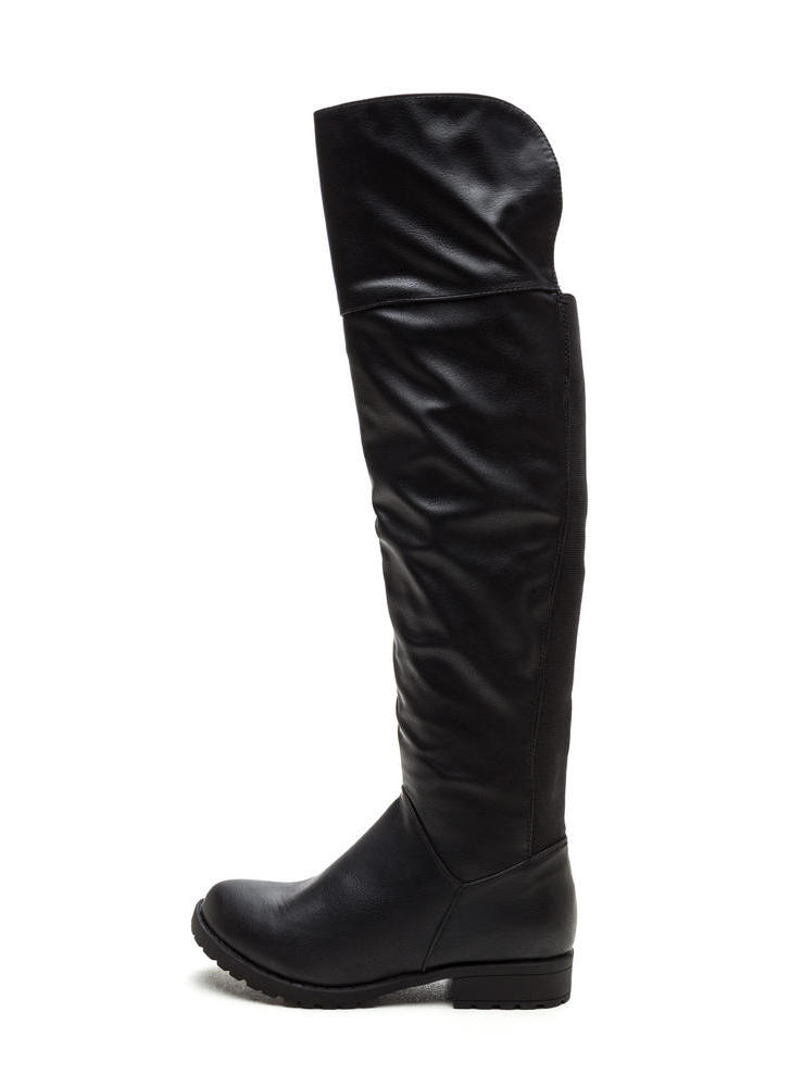 Ground Up Faux Leather Boots BLACK